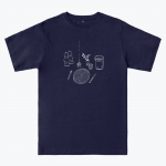 navy T-shirt with white design depicting a table setting (knife, fork, plate, salt and pepper shakers)