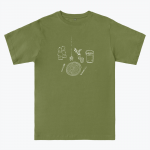 green T-shirt with white design depicting a table setting (knife, fork, plate, salt and pepper shakers)