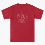 Red T-shirt with white design depicting a table setting (knife, fork, plate, salt and pepper shakers)